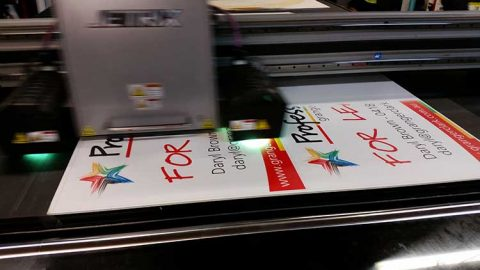 Corflute sheet being printed